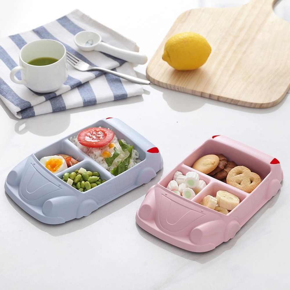4 색 크리 에이 티브 대나무 섬유 저녁 식사 접시 나누어 식사 접시 만화 귀여운 스낵 트레이 아침 식사 요리 주방 식기 15*24cm