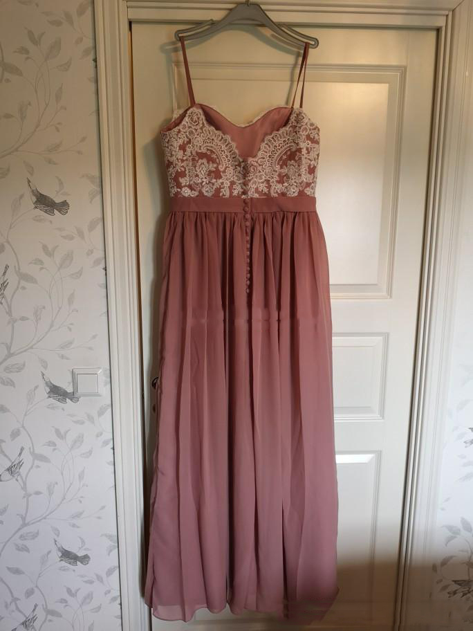 2020 -2021 Dusty Pink Spaghetti Bridesmaid Dresses For Wedding Lace Appliques  Chiffon Side Split A Line Maid Of Honor Gowns