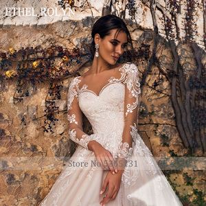 Image 3 - ETHEL ROLYN Pink Long Sleeve Wedding Dresses 2020 Vestido De Noiva Romantic Appliques Button Illusion Princess Wedding Gowns New