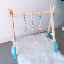 Nordic Style Cartoon Solid Wood Baby Kids Ftness Rack Children Room Decoration Toys with Ornaments Pendant Infant Clothes Frame