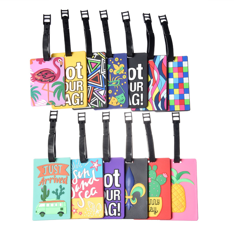 Cartoon Letter Square Luggage Tags Portable Suitcase Holder Travel Accessories ID Addres Silica Gel Women Label Baggage Boarding