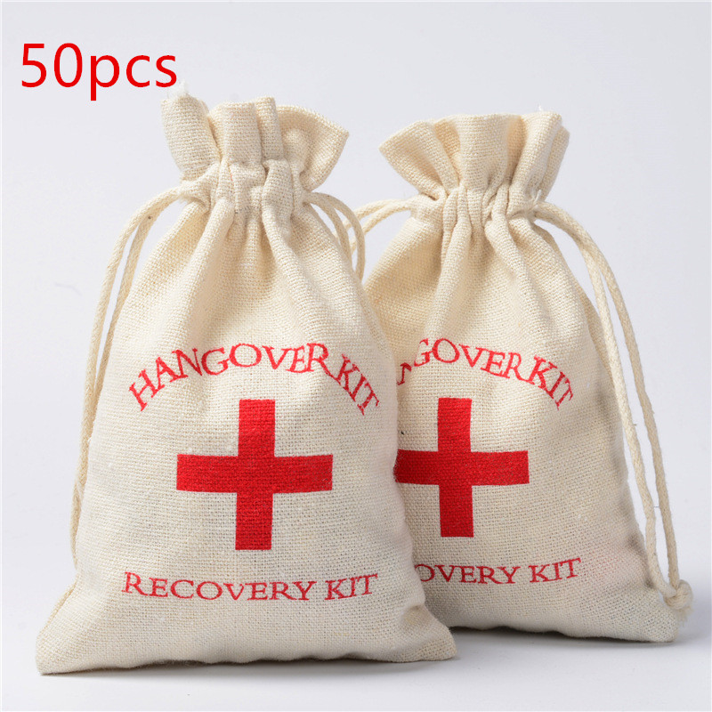 50pcs  Hangover Kit Bags Wedding Favors Gifts For Guests Holder Bag Bachelorette Hen Party Supplies