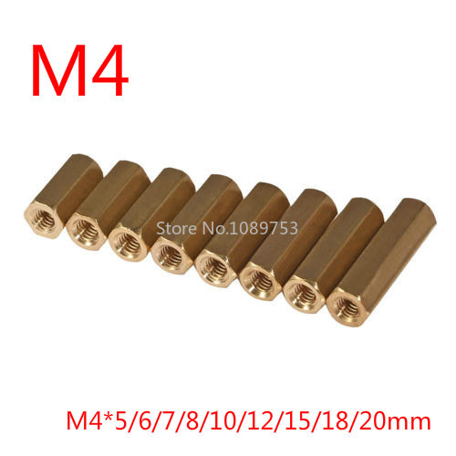10pcs <font><b>M4</b></font>*5/6/7/8/10/12/15/18/20mm Hex Screw <font><b>M4</b></font> Female Hexagonal <font><b>Brass</b></font> PCB <font><b>Standoffs</b></font> Spacers Screw Hollow Copper Column image