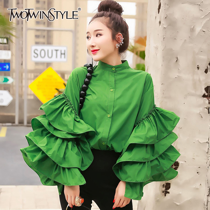 TWOTWINSTYLE Casual Patchwork Ruffles Women Shirt Stand Collar Lantern Long Sleeve Loose Blouse For Female Clothing 2020 Spring