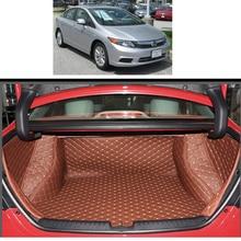 Lsrtw2017 Leather Car Trunk Mat Cargo Liner for Honda Civic 2011 2012 2013 2014 2015 9th 5d Rug Carpet Interior Accessories lsrtw2017 abs car gear trims for honda civic 2012 2013 2014 2015 9th civic