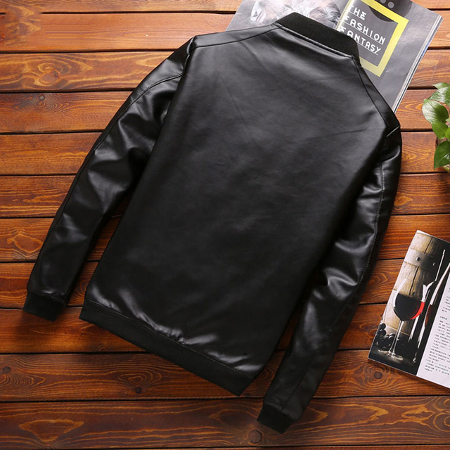 Thoshine Brand Spring Autumn Men Leather Jackets Classic Slim Fit Male PU Leather Coats Motorcycle Biker Streetwear Smart Casual 3