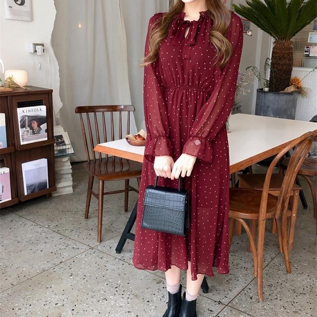 Lace Up Printed  Ruffles Chiffon Maxi Elegant Dress  4
