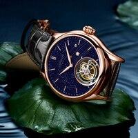 Aesop-reloj con esqueleto de Tourbillon para hombre, giratorio Real, cuerda manual de zafiro, Goldstone, mecánico, moda de lujo, 2020