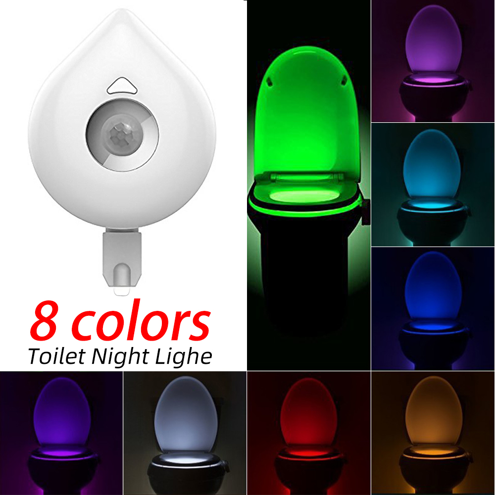 ChicSoleil Motion Sensor Toilet Light Smart Toilet Seat Night Light 8 Colors Changeable  Waterproof WC Lamp