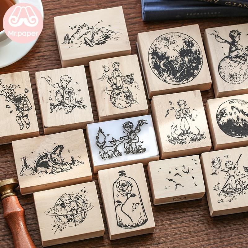 Mr.paper Vintage Little Prince Moon Decoration Stamp Wooden Rubber Stamps for Scrapbooking Stationery DIY Craft Standard Stamp 2