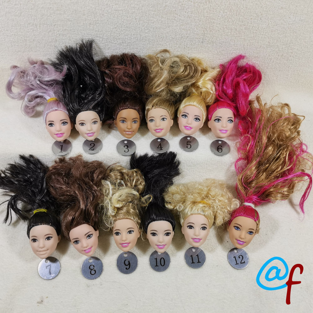 B44-3 Original Foreign Trade South Asia Beauty 1/6 OOAK NUDE Doll Head Mussed Claret-red Hair For DIY