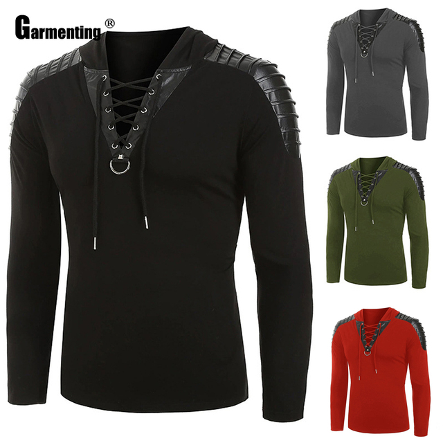 Garmenting Trendy 2020 Men Sweatshirt Autumn Long Sleeve Casual Basic Tops Punk Style Lace-up Sweatshirt Pullovers Mens Clothing