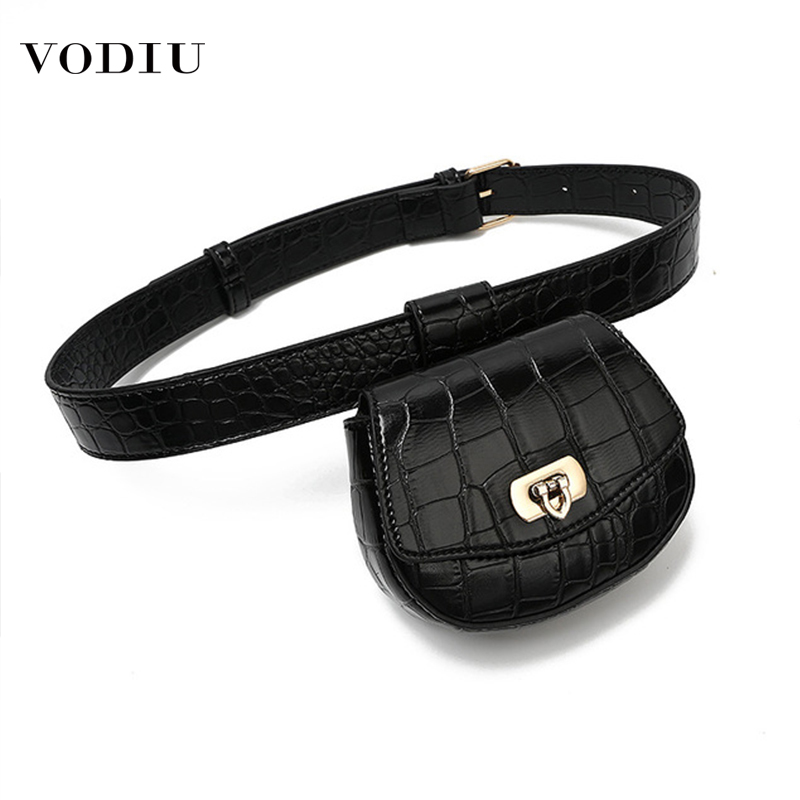 Female 2019 Pack Women Waist Bag Leather Belt Detachable Pouch Decoration Designer Simple Thin Belt Crocodile Pattern Waist Bags