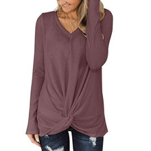 V-neck long sleeve waffle twisted T-shirt top sweater 2019 autumn women's twist long-sleeved T-shirt loose top twist front v neck striped top