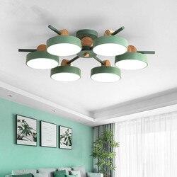 Japoński żyrandol z metalowymi abażury do salonu sufit pokoju zamontowane drewniane nabłyszczania 220V oświetlenie sypialni oprawy
