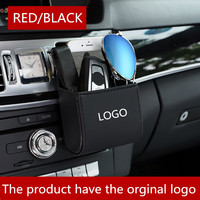 Car Organizer Box Bag Air Outlet Dashboard Hanging Leather Mobile Phone Holder In Automobile Interior FOR FORD LOGO