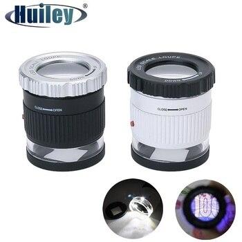 Lupa de joyería con 3 LED y 3 luces UV, lente de cristal óptico, lupa de 30x con magnificación para la identificación de sellos de moneda antigua