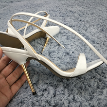 Sexy White Patent Sandals High Heel Slimmer Dress Party Women Sandals Summer New Open Toe Ankle Strap Stiletto 11cm Heel Shoes