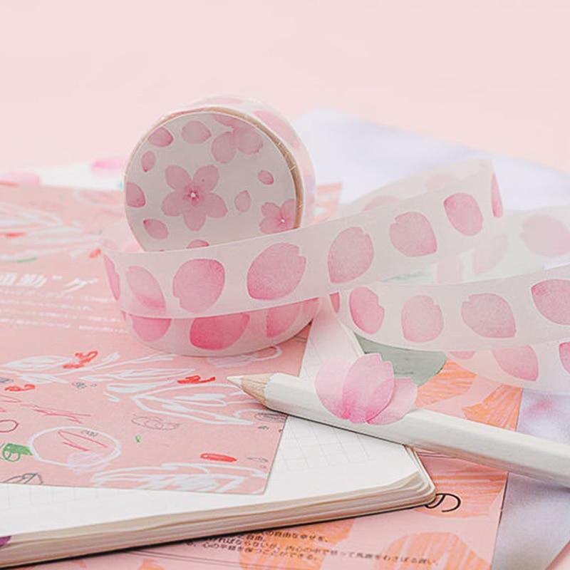 1Pc Decorative Adhesive Stickers Tape Kawaii Petal Washi Tape Cute Masking Tapes For Kids Scrapbooking DIY Stationery