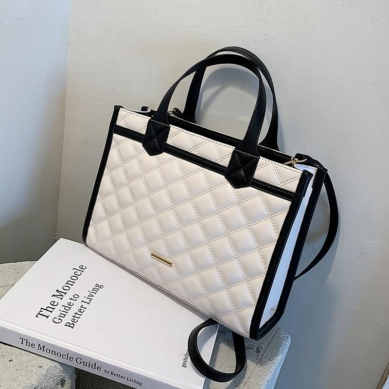Grand fourre tout à treillis en cuir PU de bonne qualité, sac à main de styliste pour femmes, sac à épaule de grande capacité, nouvelle collection 2021 |