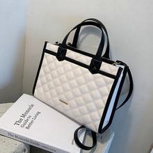 Grand fourre-tout à treillis en cuir PU de bonne qualité, sac à main de styliste pour femmes, sac à épaule de grande capacité, nouvelle collection 2021