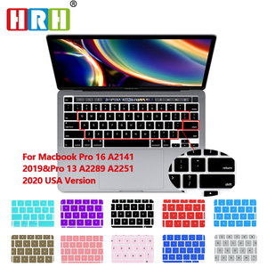 HRH Hot Sell Color Silicone English Keyboard Skin Cover For MacBook Pro 16 Inch 2019 A2141Newest pro13 A2289 A2251(2020Release)