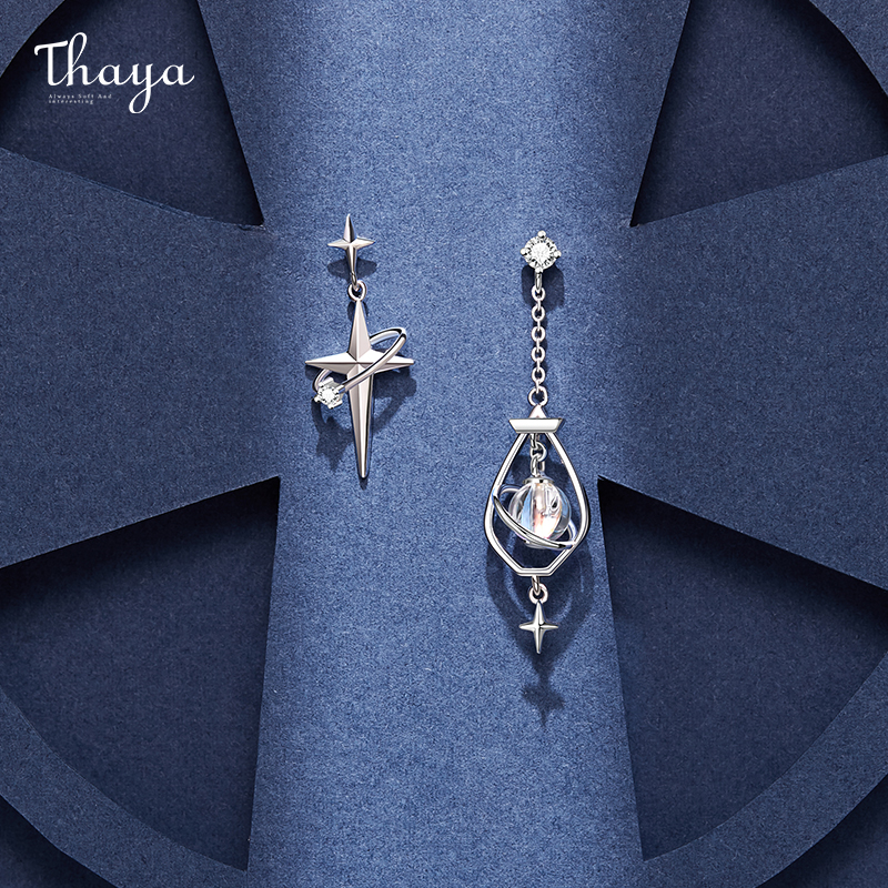 Thaya Original Design 925 Silver Needles Earring Plated 18K Gold Earrings Zircon Charms Stud For Young Girl Fine Jewelry Gift|Stud Earrings| - AliExpress