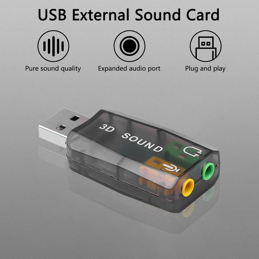 External USB Sound Card Adapter for PC Laptop Plug and Play Headset Microphone