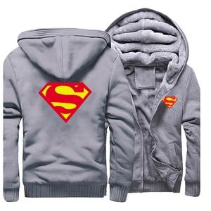 Image 3 - 2019 kış erkek Hoodies Superman kazak kaliteli polar sıcak Streetwear erkek ceket sıcak satış kalın ceket rahat erkek giyim