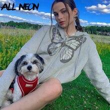 ALLNeon Y2K Fashion Oversized Butterfly Graphic Rhinestone Zip Up Hoodies E-girl 90s Streetwear Diamond Grey Long Jacket Autumn
