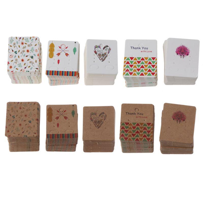 100Pcs Flower Tree Kraft Paper Drop Earrings Card Display Studs Holders Jewelry