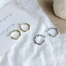 Earrings Cross-Weave Stainless-Steel Circlegirl Jewelry Women Metal for Big Gift