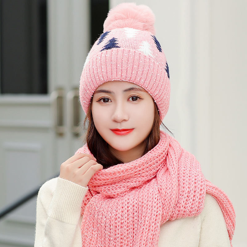 Ladies Winter Scarf Hat Set Ladies Knitted Warm Thick Pink Beanies Hats With Pompon Female Solid Christmas Tree Long Scarves Red
