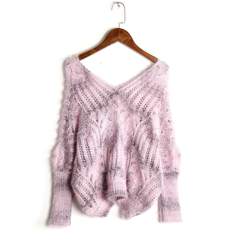 Autumn Knit Loose Hollow Mohair Sweater For Women Pullover Winter Fashion Top 2019 Korean Pull Knitted Lady Bat Sweaters Female