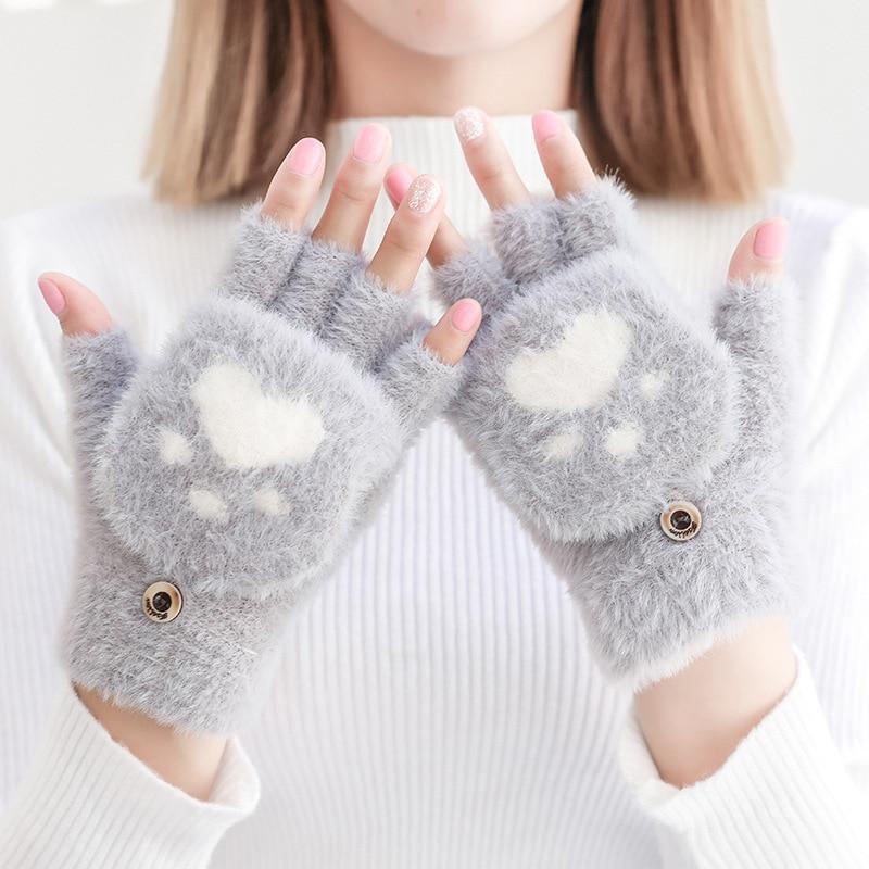 Women's Winter Warm Touch Screen Gloves Cute Cat Claw Sensory Fingerless Gloves Knitted Fluff Outdoor Flip Cover Gloves 1 Pair