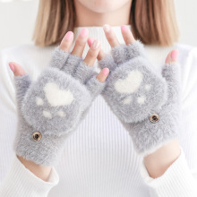 Womens Winter Warm Touch Screen Gloves Cute Cat claw Sensory Fingerles