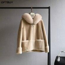OFTBUY Echte Bontjas Winterjas Vrouwen Natuurlijke Fox Bontkraag Hood 100% Wol Inhoud Geweven Bovenkleding Teddy Polar Fleece pluche