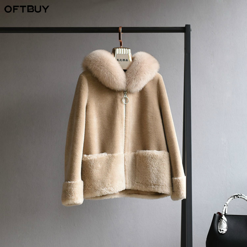 OFTBUY Real Fur Coat Winter Jacket Women Natural Fox Fur Collar Hood 100% Wool Content Woven Outerwear Teddy Polar Fleece Plush