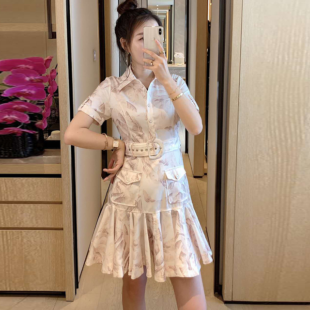 AELESEEN Runway Fashion White Dress 2020 Designer Turn-Down Collar Summer Dress Flower Print Belt Slim Party Trumpet Dress