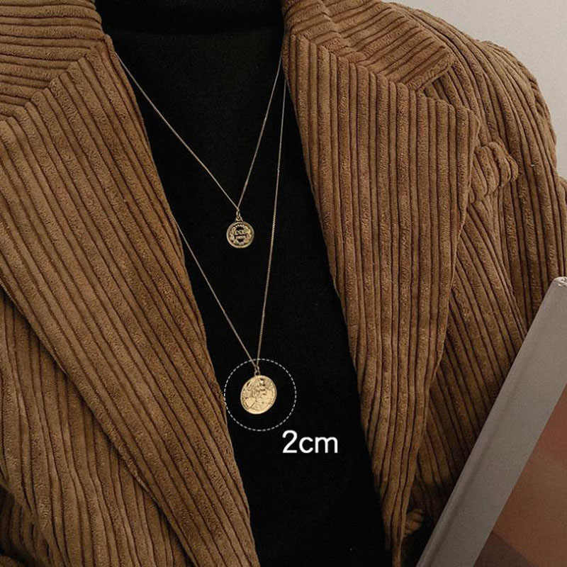 2020 Vintage Coin portret naszyjnik sweter dla kobiet prosty długi złoty łańcuch wisiorek naszyjniki biżuteria bożonarodzeniowa prezenty