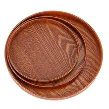 Круглый натуральный поднос питание в отеле Посуда Тарелка деревянная Ресторан тарелка-контейнер для фруктов поднос коричневого дерева диаметр 27 см