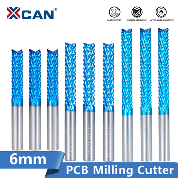 цена на XCAN Corn Milling Cutter 6mm Shank Carbide PCB Milling Bit End Mill Nano Blue Coated CNC Router Bits For Engraving Machine