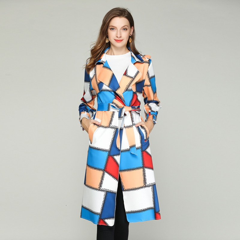 2019 Autumn New Women's Casual   Trench   Coat Fashion Contrast Color Plaid Lace-up Belt High Quality Long Outwear Loose Clothing