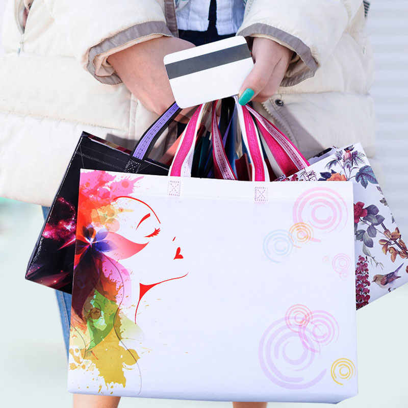 Fashion New Foldable Non-woven Fabric Shopping Bag Women Travel Storage Idyllic Flowers Reusable Tote Pouch Handbag Shoulder Bag