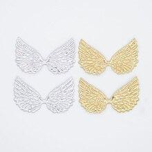 20 шт., двухсторонняя Золотая и серебряная ткань, крылья ангела, Аппликации, патчи для рукоделия, бант, шпилька, Декор, аксессуары для бутика G99
