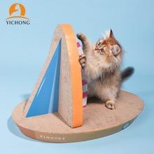 Board-Toys Paper Corrugated Cat-Scratchers Cat's Nest YH283 Sailboat-Shape Vertical Foldable