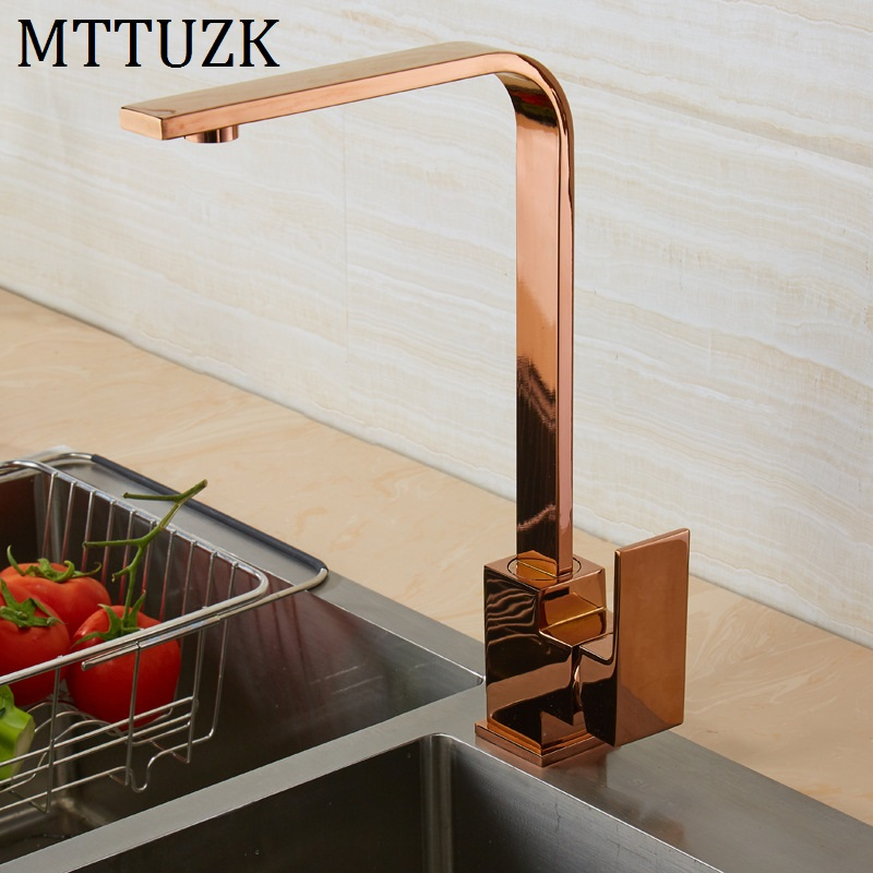 Brushed Gold Square Faucet Black Rose Gold Kitchen Sink Faucet 360 Degree Rotating Kitchen Faucet ORB Mixer Tap