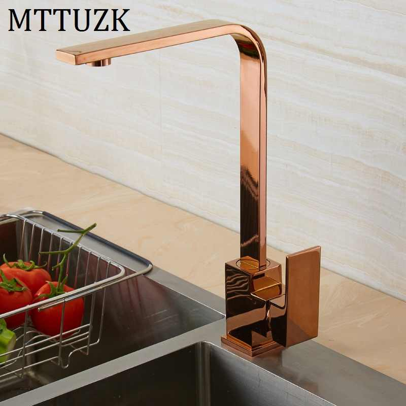 Brushed Gold Square Faucet Black Rose Gold Kitchen Sink Faucet 360 Degree Rotating Kitchen Faucet Orb Mixer Tap Kitchen Faucets Aliexpress