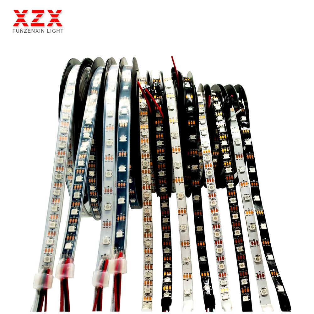 WS2812B bande Led 1-5m30/60/74/96/144 pixels/leds/m Smart 5050 RGB led bande lumineuse, PCB noir/blanc, WS2812 IC;IP30/IP65/IP67 DC5V
