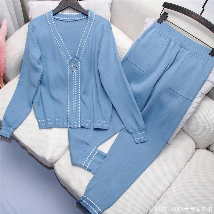 HAMALIEL New 2019 Fall Winter Women Casual Knitted Tracksuit Fashion Blue Zipper V Neck Jacket Coat + Pencil Trousers 2PCS Set